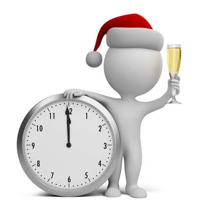 3D kleine Person - Weihnachtsmann mit einem Glas Champagner neben der Uhr 3D-Bild Standard-Bild - 24561294