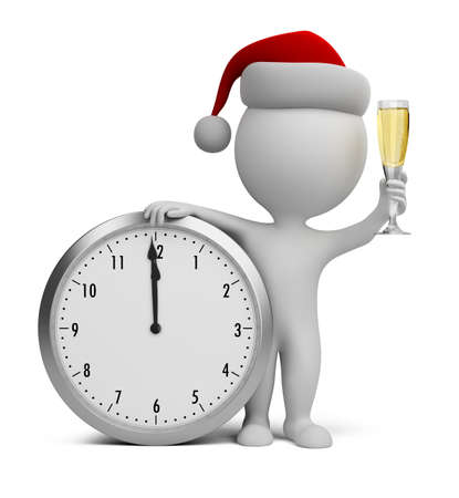 3d small person - Santa with a glass of champagne next to the clock  3d image photo