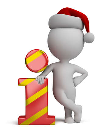 3d small person - Santa standing next to the info icon  3d image photo