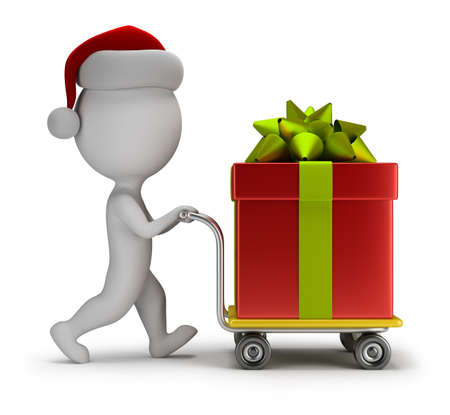 carries: 3d small person - Santa carries a big gift on trolley  3d image