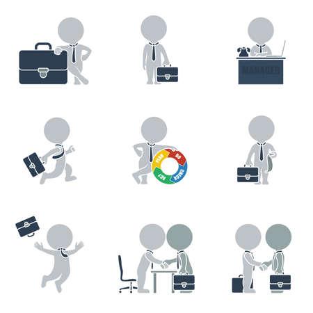 estuche: Colección plana de las personas en viaje de negocios. Ilustración del vector.