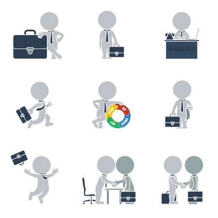 in action: Flat collection of people on business. Vector illustration.