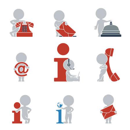 headset business: Collezione di icone piane con la gente su contatti e informazioni. Illustrazione vettoriale.