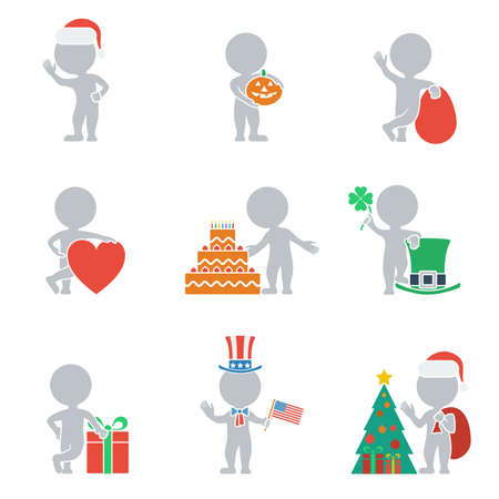 Collection of icons of people flat on holiday. Vector illustration. Vector