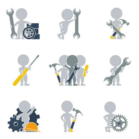 Collection d'icônes de personnes plat sur la mécanique. Vector illustration. Illustration