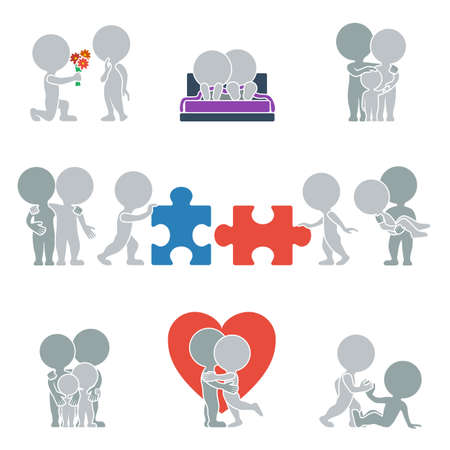 Collection of flat icons with people on the topic of relationships. Vector illustration. Vector