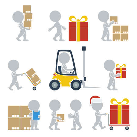 cartons: Сollection of flat icons with people on shipping. Vector illustration.