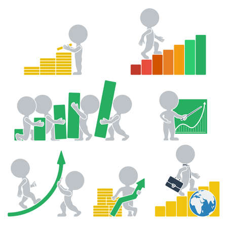 Collection icons with people flat on statistics. Vector illustration.