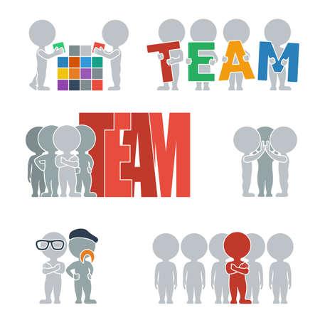 fermo: Collezione di icone piane con persone del team. Illustrazione vettoriale. Vettoriali