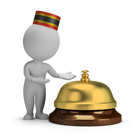 bellman: 3d small person - bellboy and service bell  3d image  White background