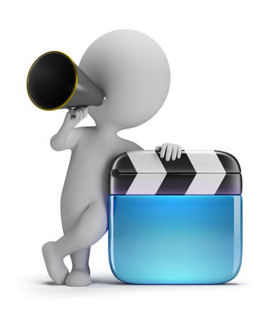 3d small person - director with a clapper and a megaphone  3d image  White background