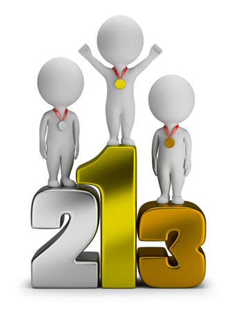 perseverance: 3d small people - winners standing on numbers  3d image  White background