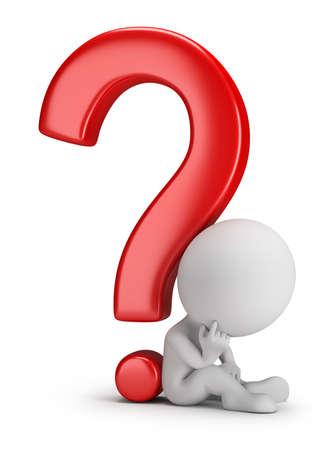 3D kleine Person neben einem Fragezeichen-Bild 3D White background Standard-Bild - 26583772