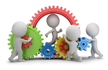 3d small people - team twisting multicolored gears  3d image  White background  Standard-Bild