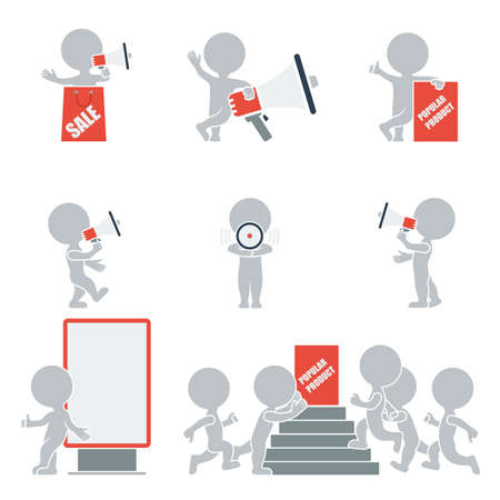 Flat collection of people on promotion  Vector illustration  Stock Illustratie