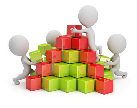3d small people are building a pyramid of colored cubes  3d image  White background