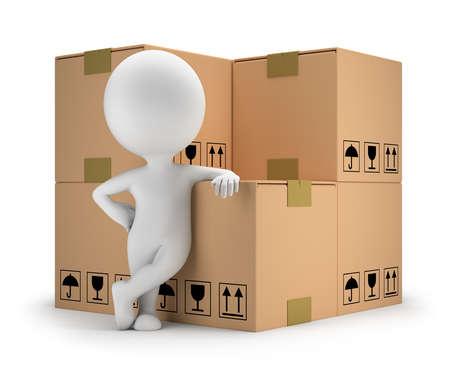 ホワイト バック グラウンド段ボール箱の 3 d イメージの横に立っている 3 d の小さい人
