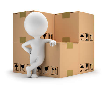 3d small person standing next to cardboard boxes  3d image  White background