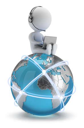 weltweit: 3D kleine Person sitzt mit einem Laptop auf der Erde mit einem globalen Netzwerk 3D-Bild Wei� Hintergrund