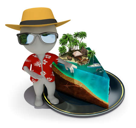 3d small person - tourist near a slice of cake in the form of paradise  3d image  White background  photo