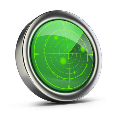 Radar with green screen  3d image  White background  photo