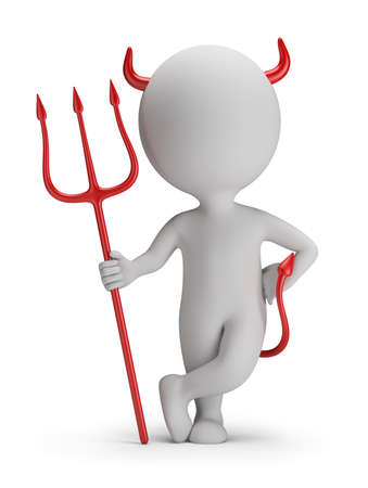 3d small person - devil with a trident  3d image  White background  Stok Fotoğraf