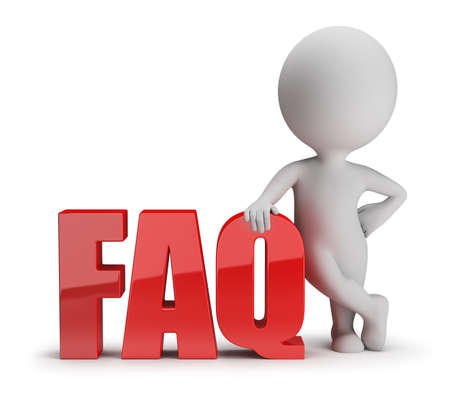 3d small person standing next to FAQ  3d image  White background