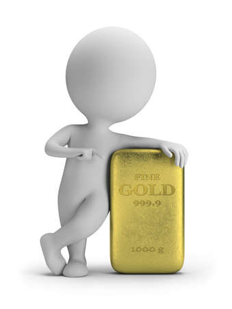 3d small person standing next to a golden nugget  3d image  White background  photo