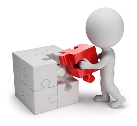 persona: 3 ª persona pequeña - hombre pone en un rompecabezas de células rojas de la imagen 3d en el fondo blanco