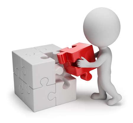 3D-kleine persoon - man brengen op een rode puzzel cel 3d beeld op witte achtergrond