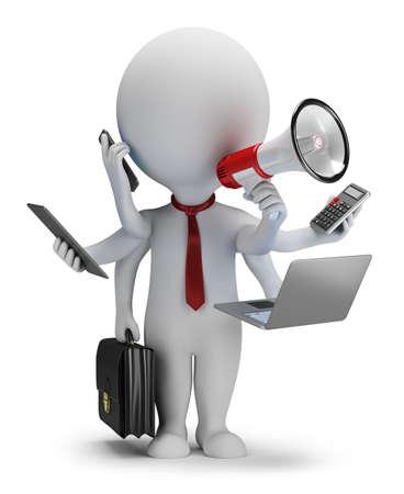 3d small osoba - podnikatel se šesti rukama 3d obrazu bílé pozadí Reklamní fotografie