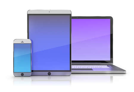 Electronic devices  Smartphone, tablet and laptop  3d image  White background  photo