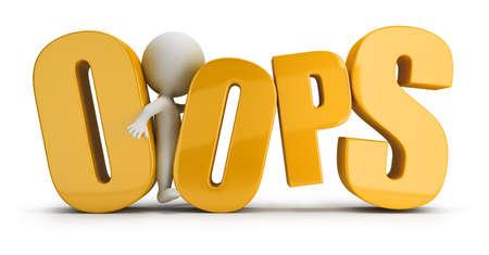 3d petite personne coincé entre les lettres d'un mot oops image 3d Blanc