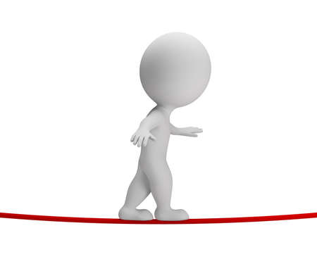 3d small person walking on rope  3d image  White background  Stockfoto