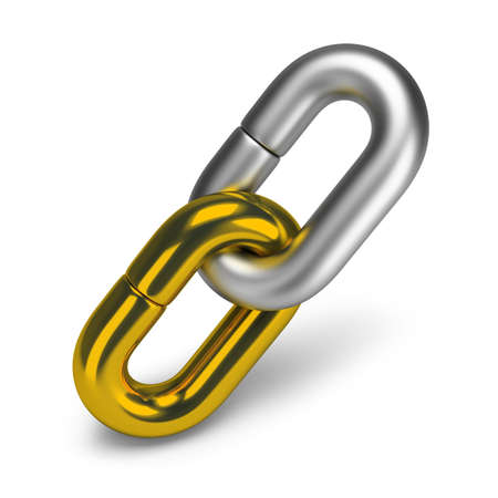Two chain link, gold and steel  3d image  White background