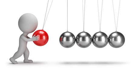3d petites gens se balançant pendule de Newton image 3d fond blanc