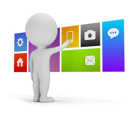 3d 작은 사람은 플랫 3d 이미지는 흰색 배경에 메뉴의 사용자 인터페이스를 선택