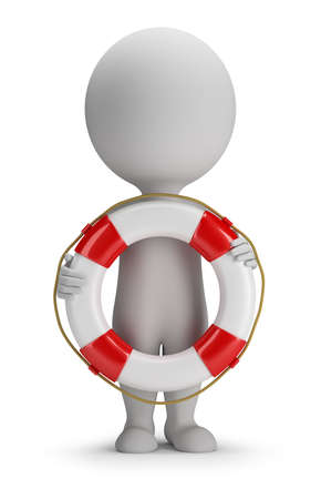 3d small person standing with a lifeline in the hands of  3d image  White background
