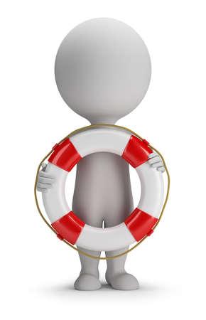 3d petite personne debout avec une bouée de sauvetage dans les mains de l'image 3d fond blanc