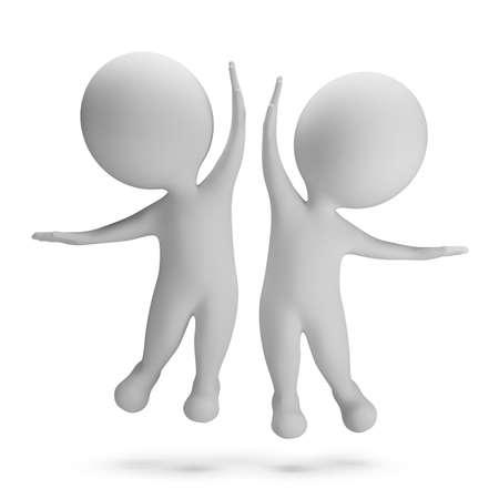 3d petites gens sauter de joie Haute-cinq image 3d Fond blanc Banque d'images - 28511689
