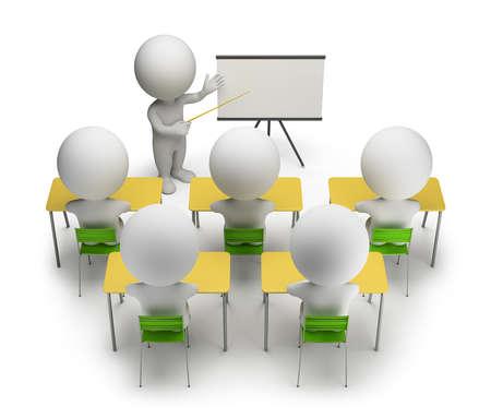 třída: 3d malí lidé, kteří studují na vzdělávacích kurzech 3d obraz bílém pozadí
