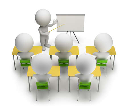 3d small people studying in training courses 3d image White background