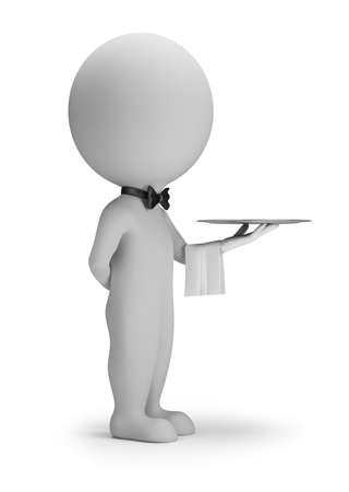 3d small people - serveur avec plateau image 3d fond blanc