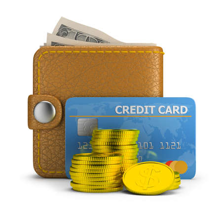 Concept of payment  Wallet with bills, credit card and coins  3d image  White background  photo