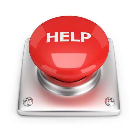 Botón rojo de la ayuda de la imagen 3d fondo blanco