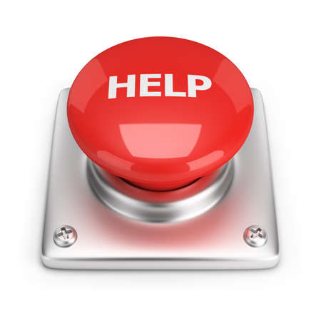 Red help button  3d image  White background