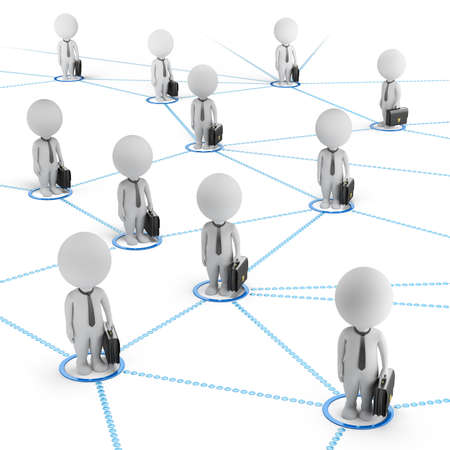 3d small people - businessmen standing in the global network of cells  3d image  White background  Stockfoto
