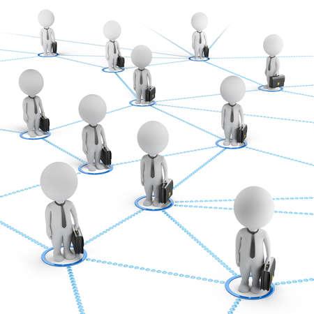 3d pequeña gente - hombres de negocios de pie en la red mundial de células 3d imagen de fondo blanco