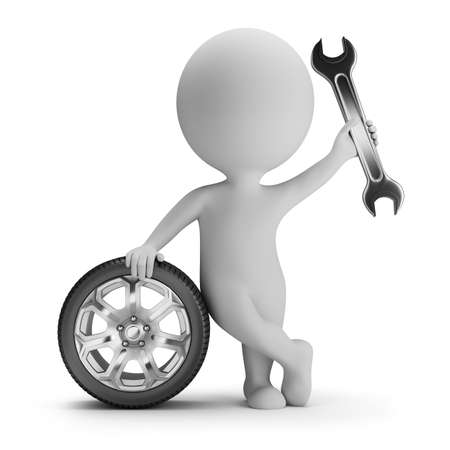 small tools: 3d small person standing next to a car wheel with a wrench in hand  3d image  White background  Stock Photo