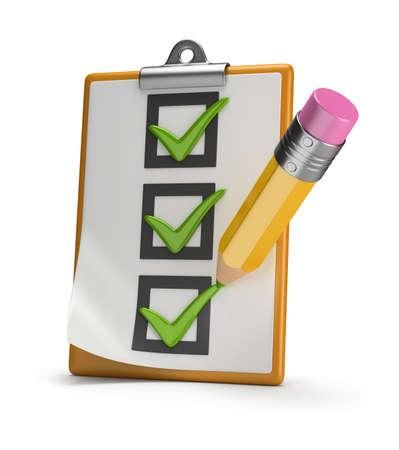 チェックリストおよびスタンプ鉛筆ダニ 3 d イメージの白の背景